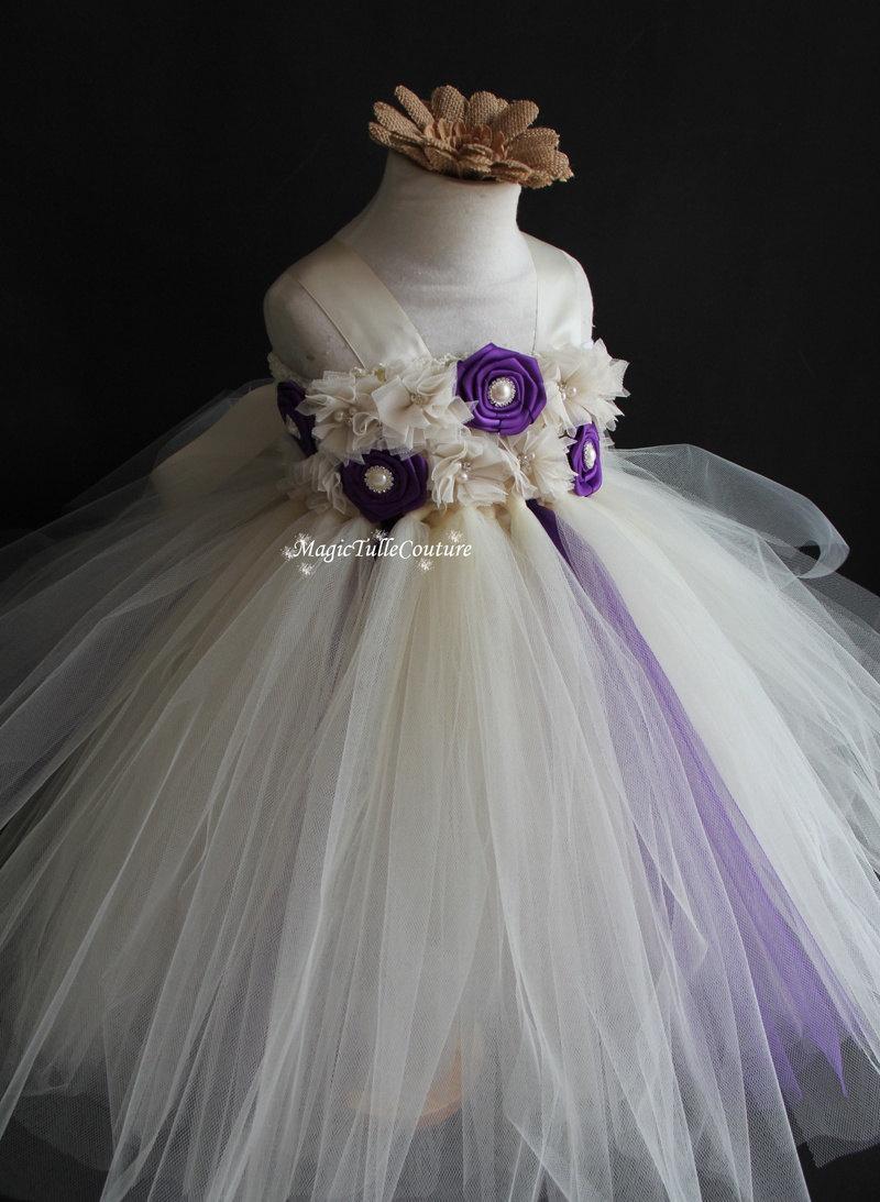 زفاف - Ivory and purple flower girl tutu dress wedding dress toddler dress birthday party dress tulle dress 1t2t3t4t5t6t7t8t9t10t