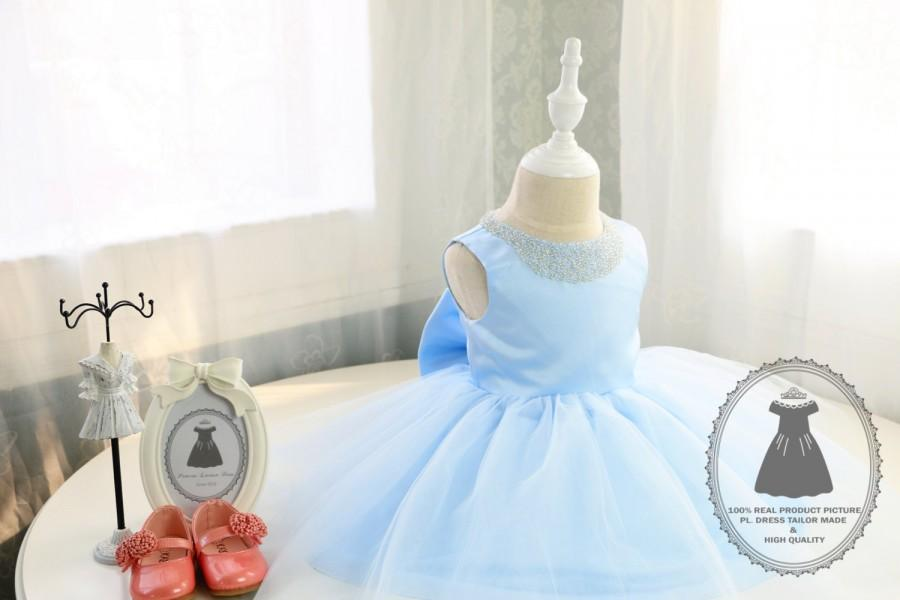 Light Blue Baby Birthday Dress Super Cute TuTu Toddlers Easter Pageant PD029