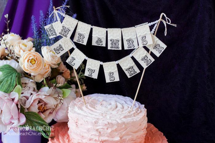 Mariage - Mr. &  Mrs.and YOUR name Personalized Сustom Lace Wedding Cake Topper Banner with pearls and burlap