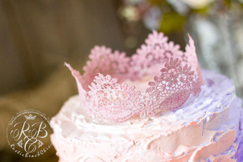 Blush Pink Wedding Lace Crown Cake Topper Vintagewedding Princess Party Photography Prop Decoration Weddingtrend