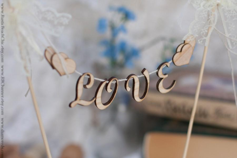 Wood Love Wedding Cake Topper Banner Rustic Banner Unusual Decor