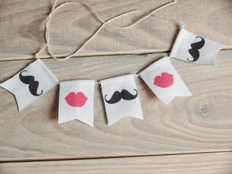 Hochzeit - lips & mustaches Wedding Cake Topper Banner