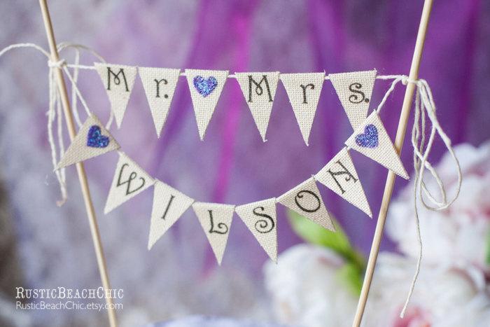 Wedding - Mr. & Mrs.  Personalized Cake Topper / Wedding Banner/ glitter banner