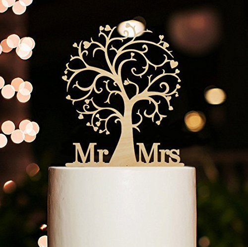 Wedding - Wood Cherry Blossom Tree Rustic Wedding Cake Topper