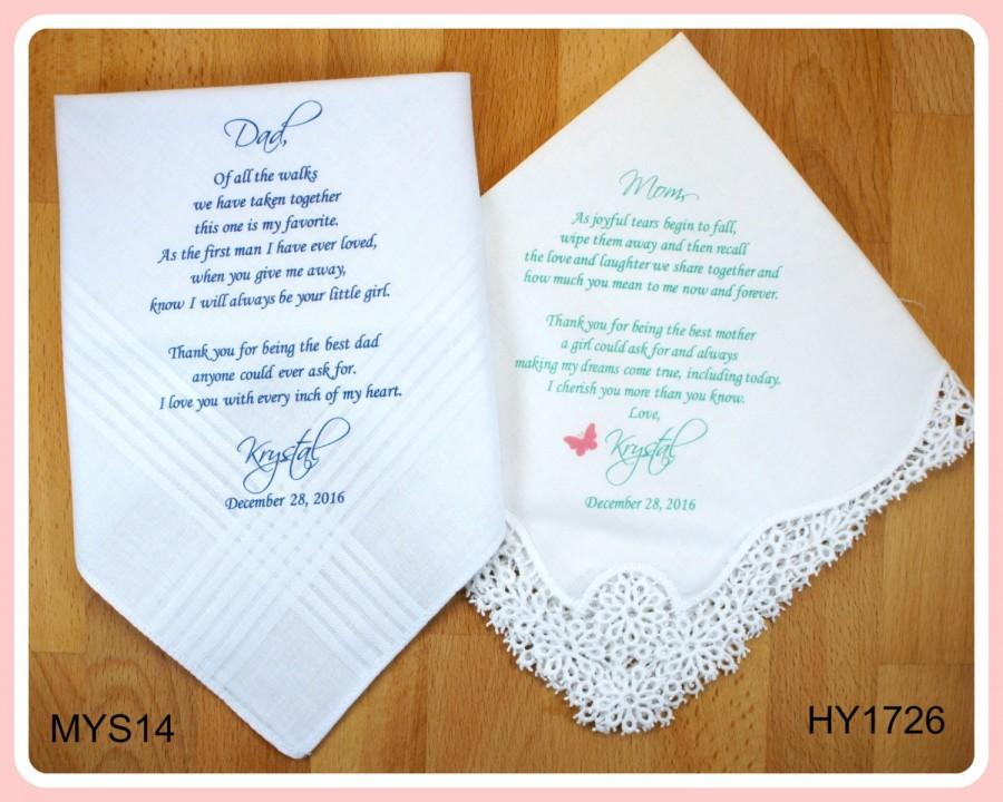 Wedding handkerchief printed set of 2 customized mother of the bride wedding handkerchief printed set of 2 customized mother of the bride father of the bride wedding hankerchief wedding gift parents gift favor junglespirit Images