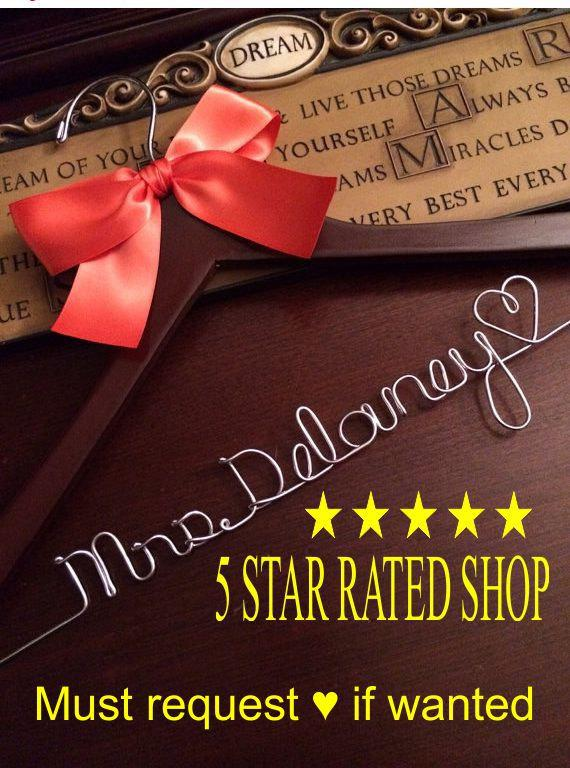 Mariage - HUGE SALE Personalized Bridal Hanger / Bride  / Wedding Hanger /Bridal Gift / bridal party GIFTS / wire hanger