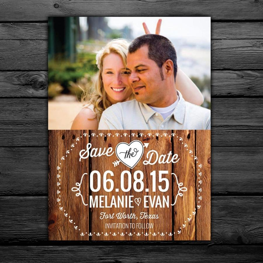Свадьба - 25 Rustic Save the Date Magnets, Cards, printable digital file customized with your photo -- Free customization in any color