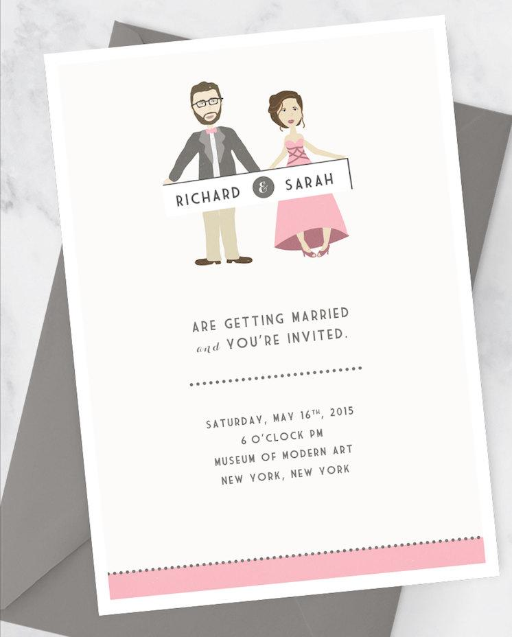 wedding invitation kit with custom couple illustration portrait fun