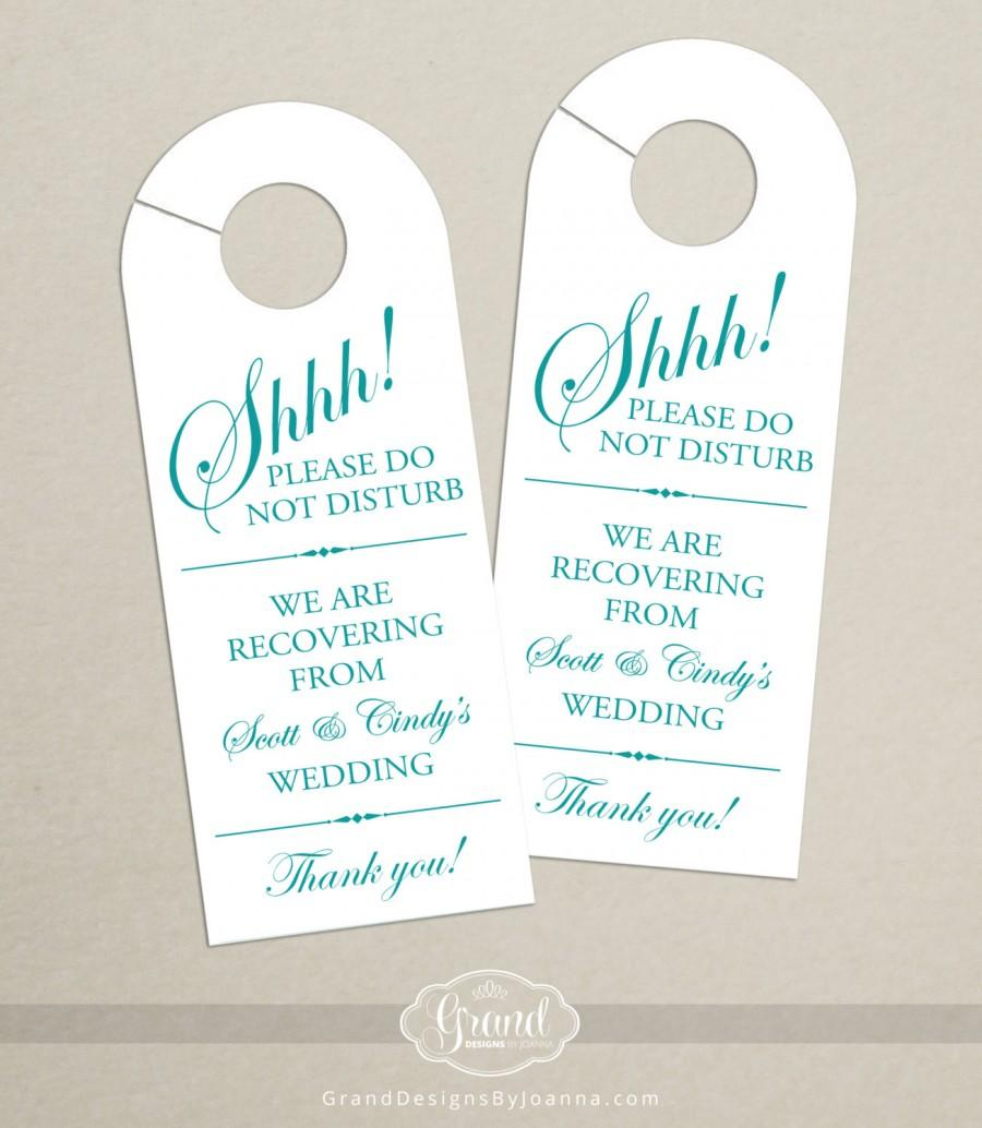 Set Of 10 - Door Hanger For Wedding Hotel Welcome Bag - Do Not ...