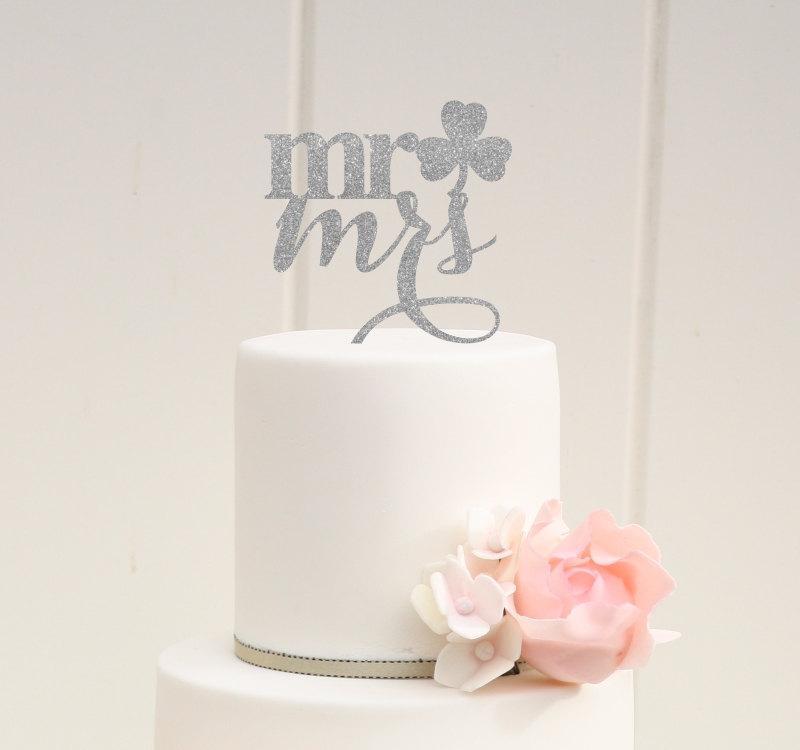 Свадьба - Mr and Mrs Clover Wedding Cake Topper - Irish St. Patricks Day Cake Topper