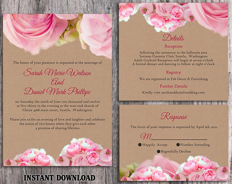 DIY Rustic Wedding Invitation Template Set Editable Word File Download Printable Pink Invitation ...