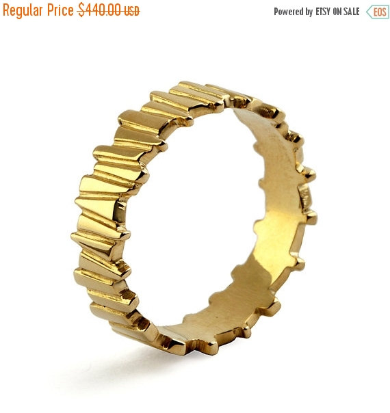 Mariage - SALE 20% OFF - TEMPO 14k Yellow Gold Wedding Ring, Unique Wedding Band Ring, Alternative men's wedding band, His and Hers Wedding Band Set