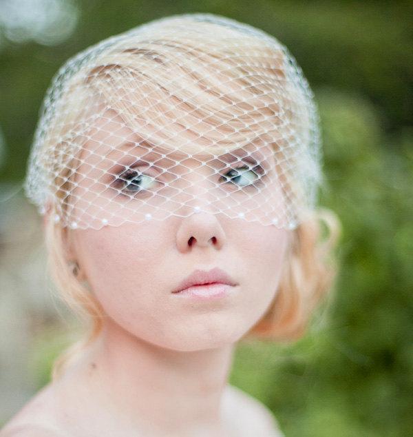 زفاف - Ivory Birdcage Veil Bandeau Style Birdcage Veil with Pearls White Birdcage Veil - Brooklyn