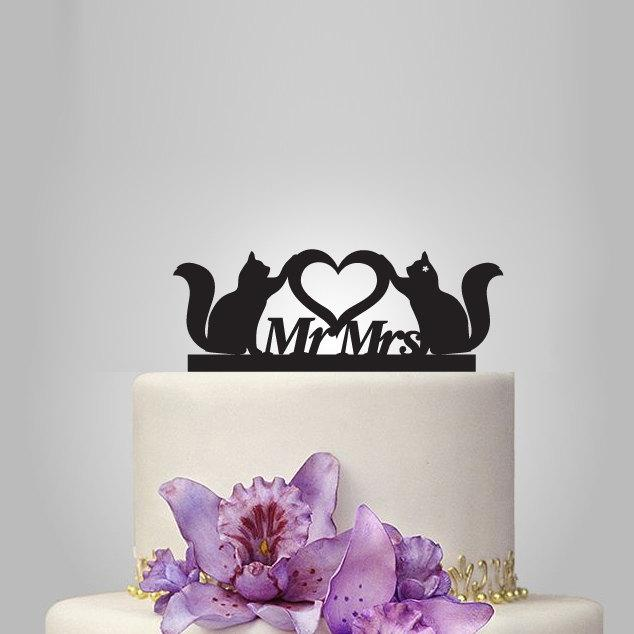 Свадьба - cats and mr mrs Wedding Cake topper with heart, silhouette cake topper, heart weding cake topper, birthday cake topper, funny cake topper,