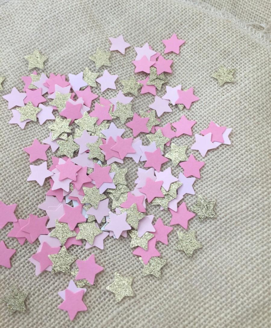 Twinkle twinkle little star pink gold glitter confetti for Baby confetti decoration