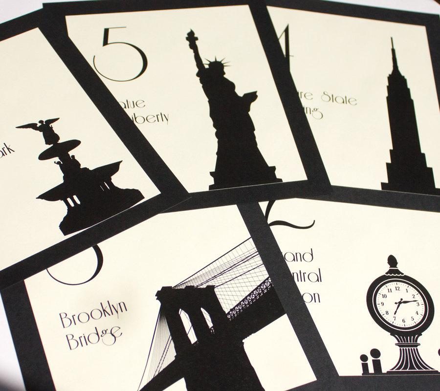 Nyc Table Number New York City Wedding Decor Reception Sign Cards
