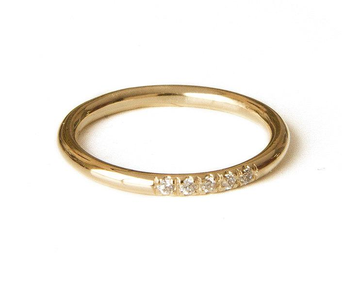diamonds ring in pave set dainty stacking ring thin gold