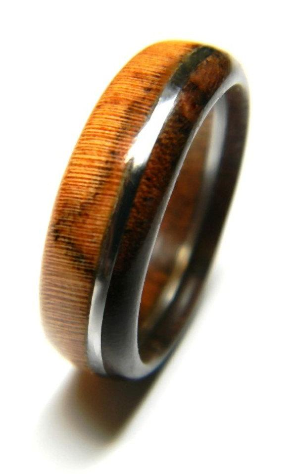 Unique Walnut And Olivewood Wood Ring Jewelry Ring Wood