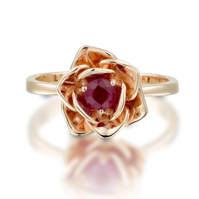 flower ring 14k gold ruby ring floral ring