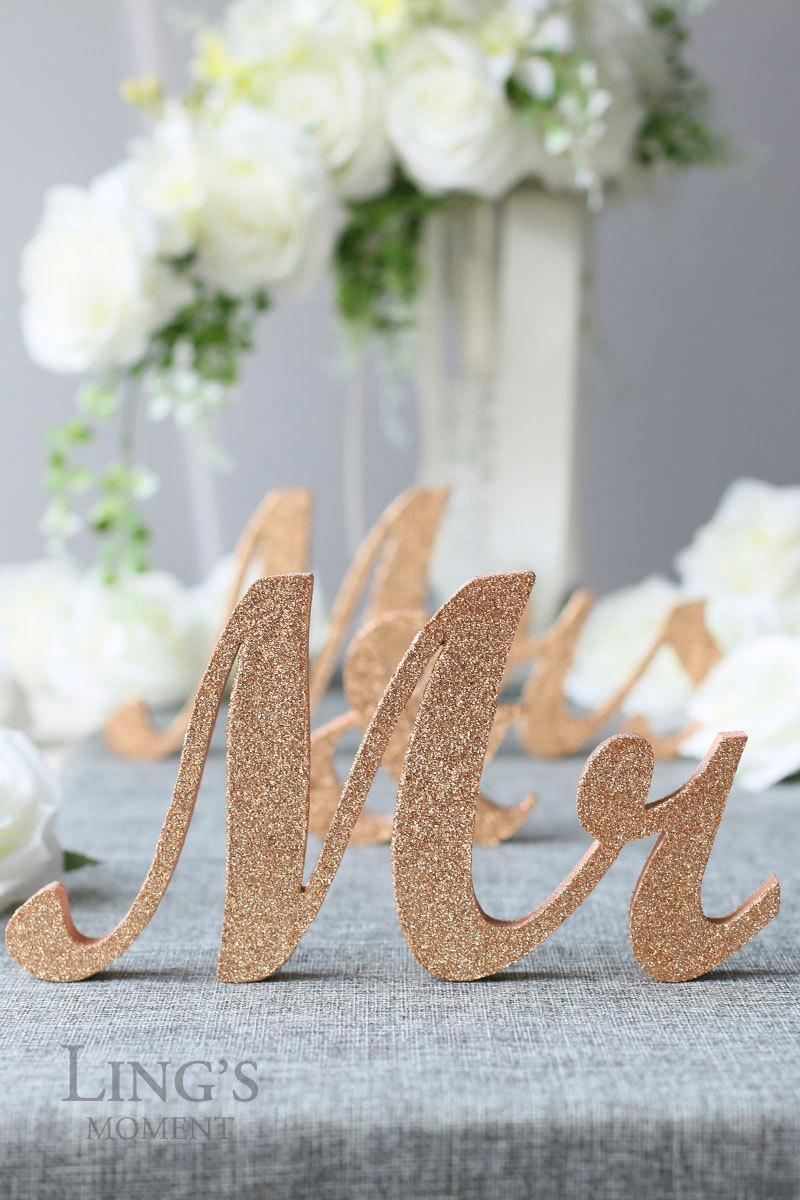 Glitter Mr And Mrs Letters Head Table Decorations   Rose Gold Mr And Mrs  Sign   Bride And Groom Table Decor   Rustic Wedding Decor TLP