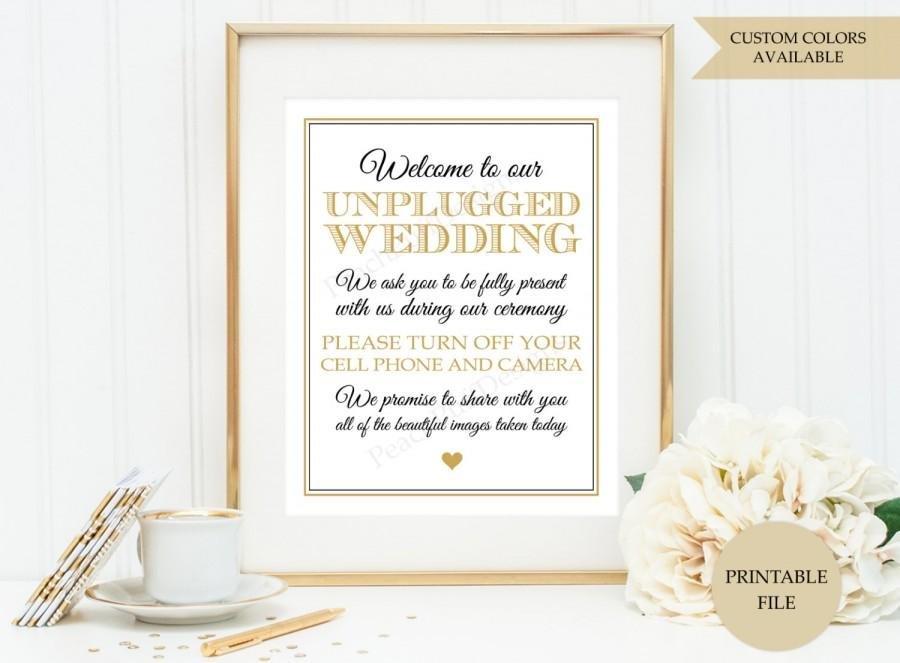 Mariage - Unplugged wedding sign (PRINTABLE FILE)  - Unplugged ceremony sign - Wedding printables - Wedding sign - Black and gold wedding