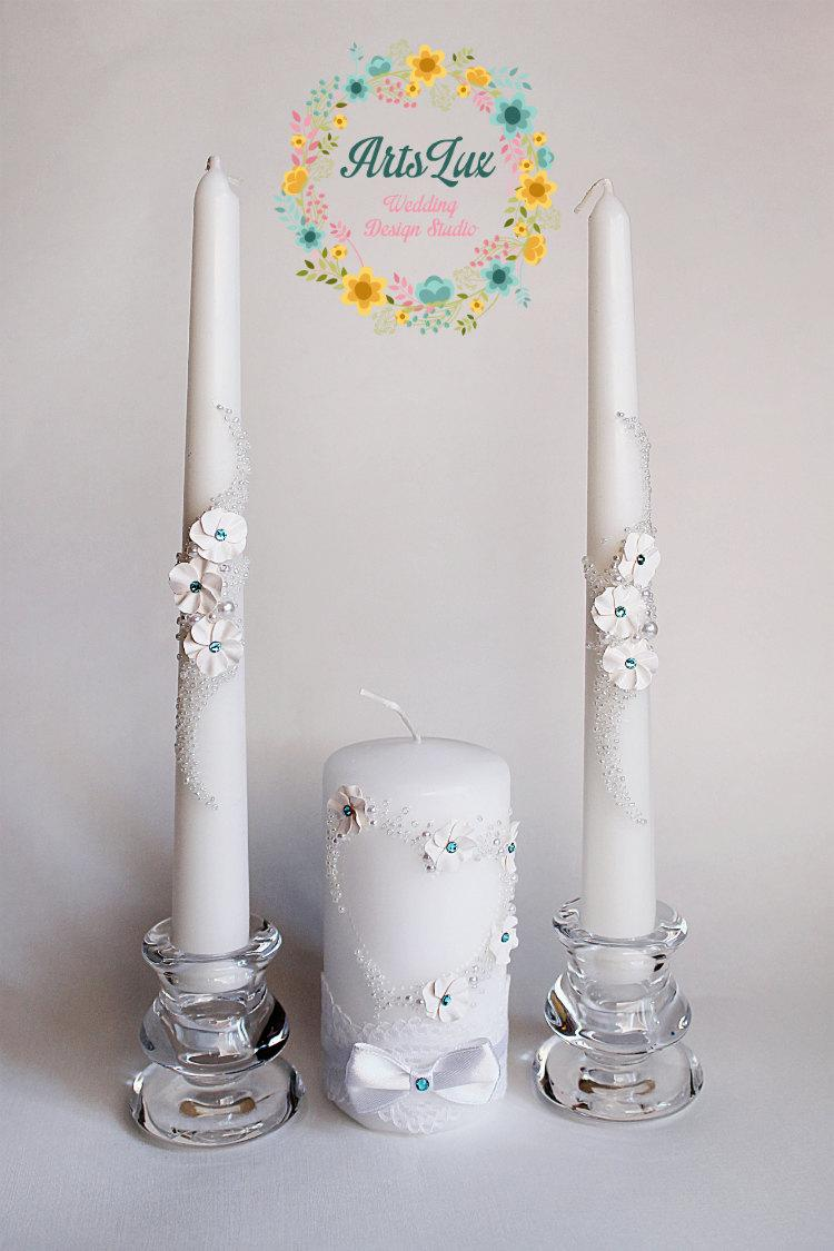 Wedding Unity Candle Set With Swarovski Stones And Handmade Flowers Candles Ceremony Gift Idea Favor
