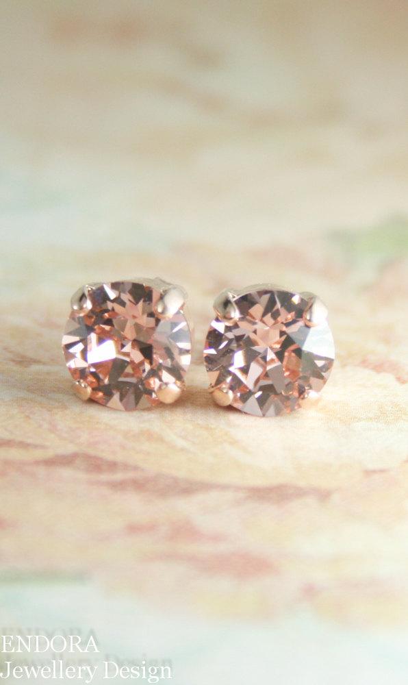 Hochzeit - rose gold earrings,blush crystal earrings,blush earrings,blush rose gold earrings,rose gold stud earrings,crystal earrings,crystal stud