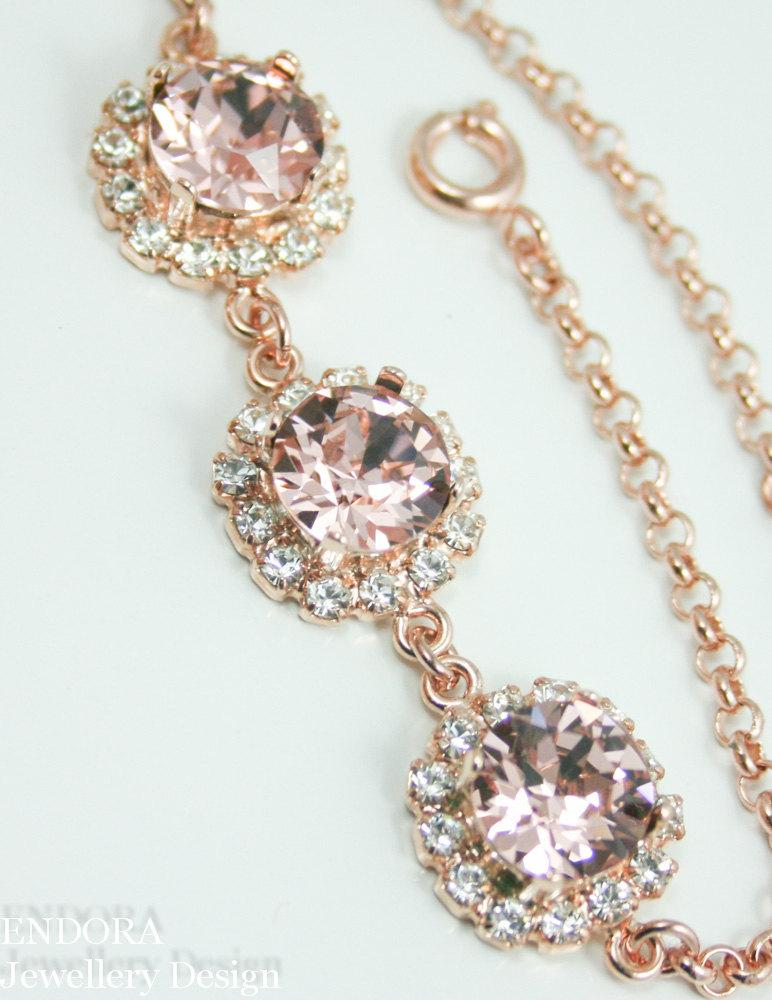 Hochzeit - Crystal bracelet,blush pink bracelet,swarovski crystal bracelet,rose gold bracelet,blush wedding,blush bridal jewelry,blush bridesmaid gift