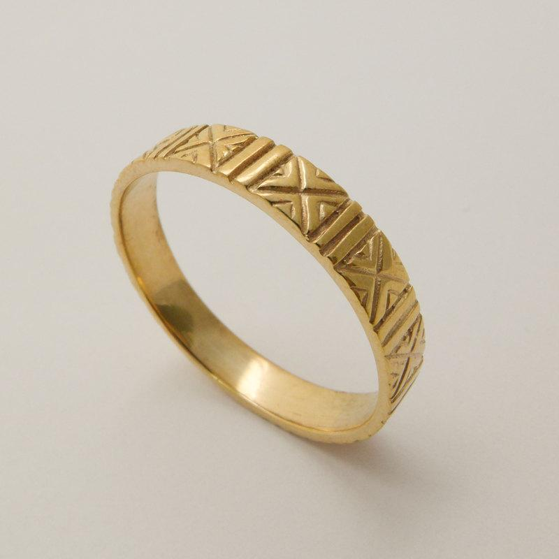 Engraved 14 Karat Gold Wedding Ring Patterned Handmade Bands Men And Women Solid Band