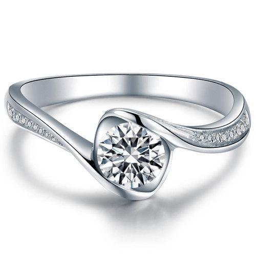 Hochzeit - Round Shape  Diamond Engagement Ring 950 Platinum Setting Art Deco Diamond Ring