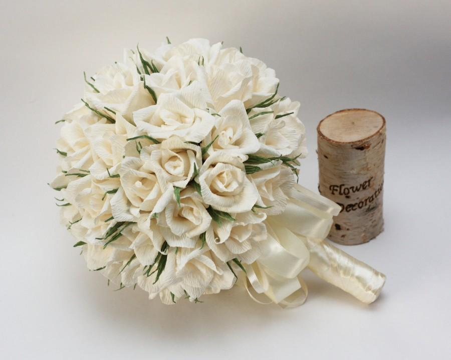 Hochzeit - wedding bouquets, paper flower bouquet, bridal bouquet, bridesmaids bouquets, ivory roses, creme bouquet