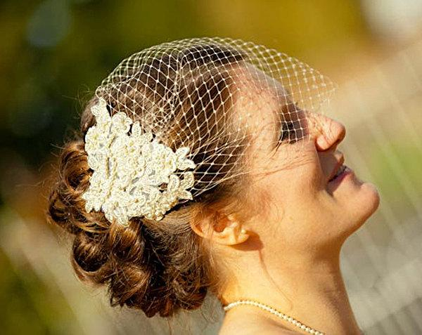 Mariage - Champagne Birdcage Veil and Lace Bridal Fascinator, Gold, Vintage Style Bandeau Birdcage Wedding Veil and Lace Hair Clip - GENEVIEVE