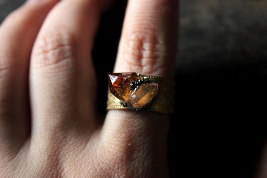 Hochzeit - Herkimer Diamond Ring,Raw Citrine ring,raw gemstone ring,heart ring,raw crystal ring,raw stone ring,raw quartz ring,Gypsy ring,rock ring