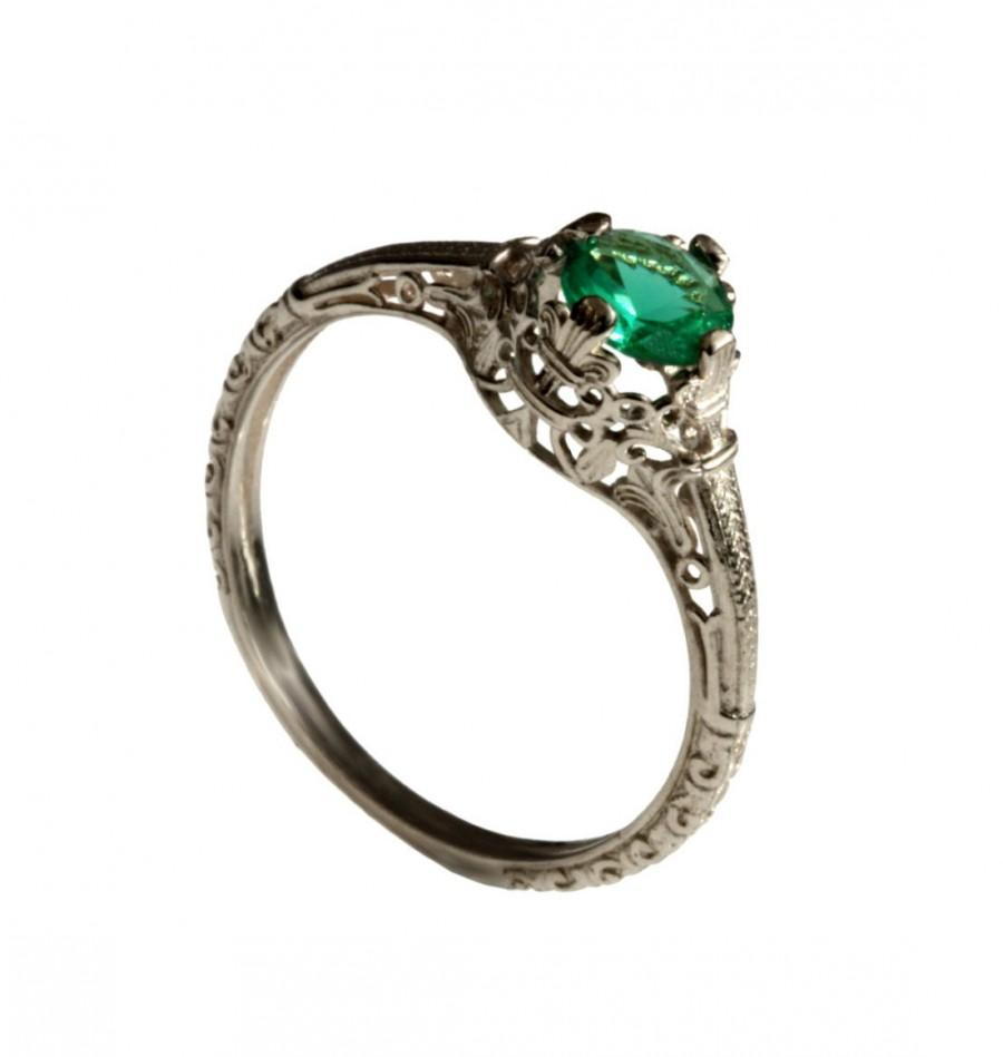 18K Vintage Solitaire Emerald Engagement Ring 18k White Gold Natural ...
