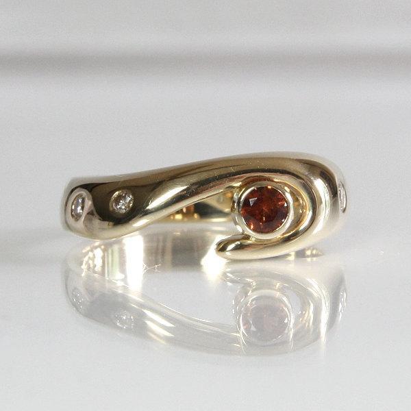 Hochzeit - Ladies Garnet And Diamond Engagement Ring 14K Yellow Gold Size 6 3/4 Natural Orange Hessonite Garnet Jewelry Modern Wave Design