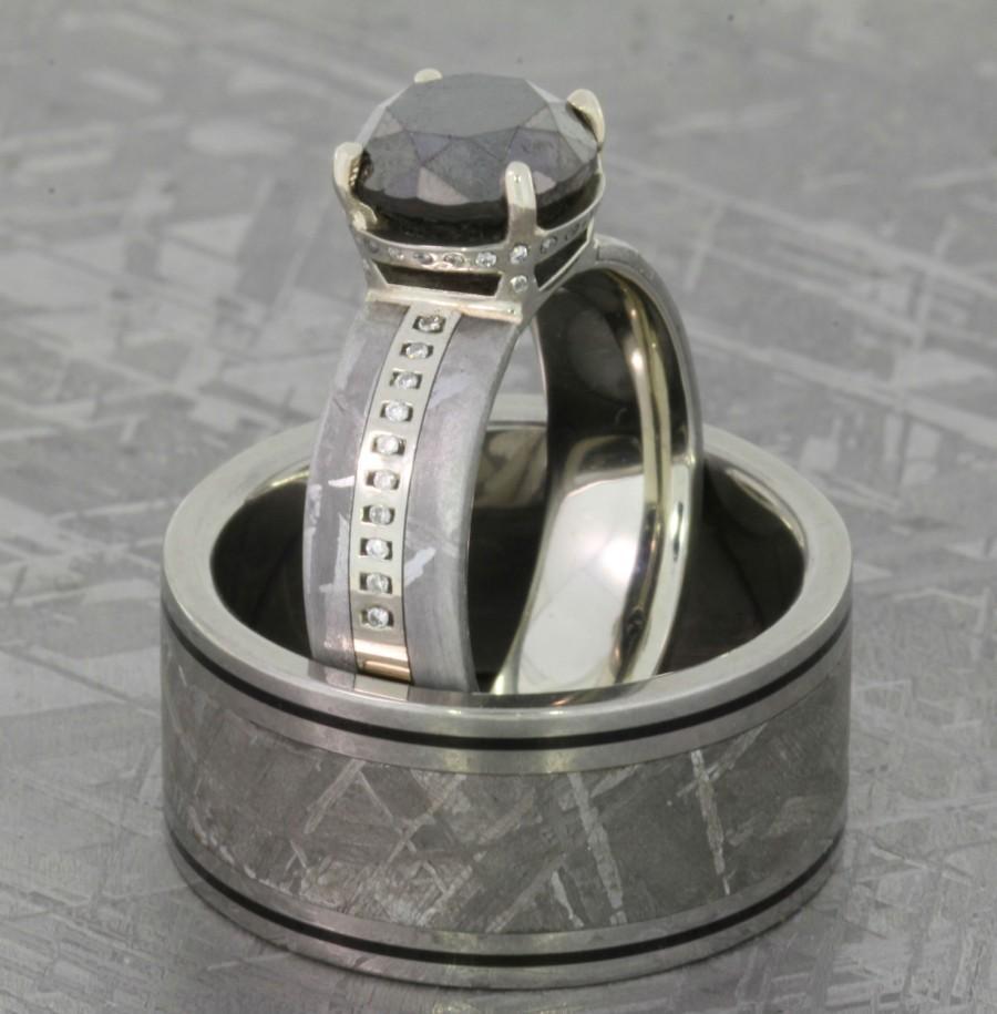 Wedding - Men's and Women's Meteorite Wedding Band Set, Ladies 14K White Gold Ring with Black and White Diamonds in Meteorite , Men's Meteorite Ring