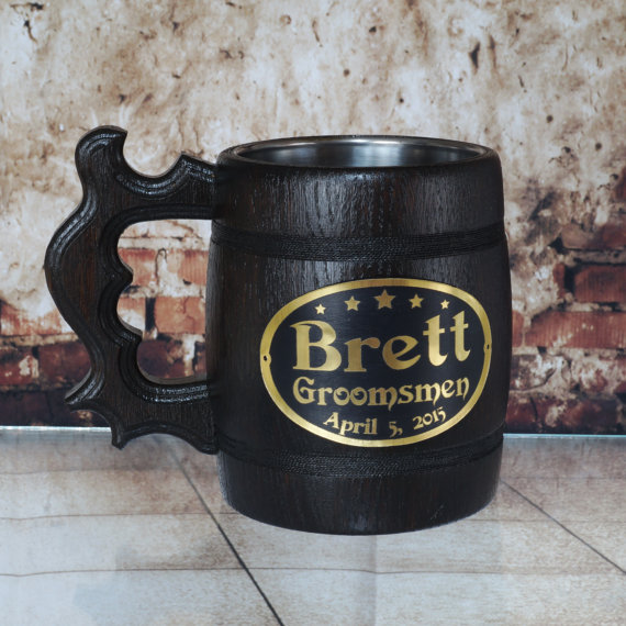 Wedding - Groomsmen mug, Wooden beer mug, personalized engraving, groomsmen gift, wedding gift, personalized tankard, wood tankard, father gift, beer