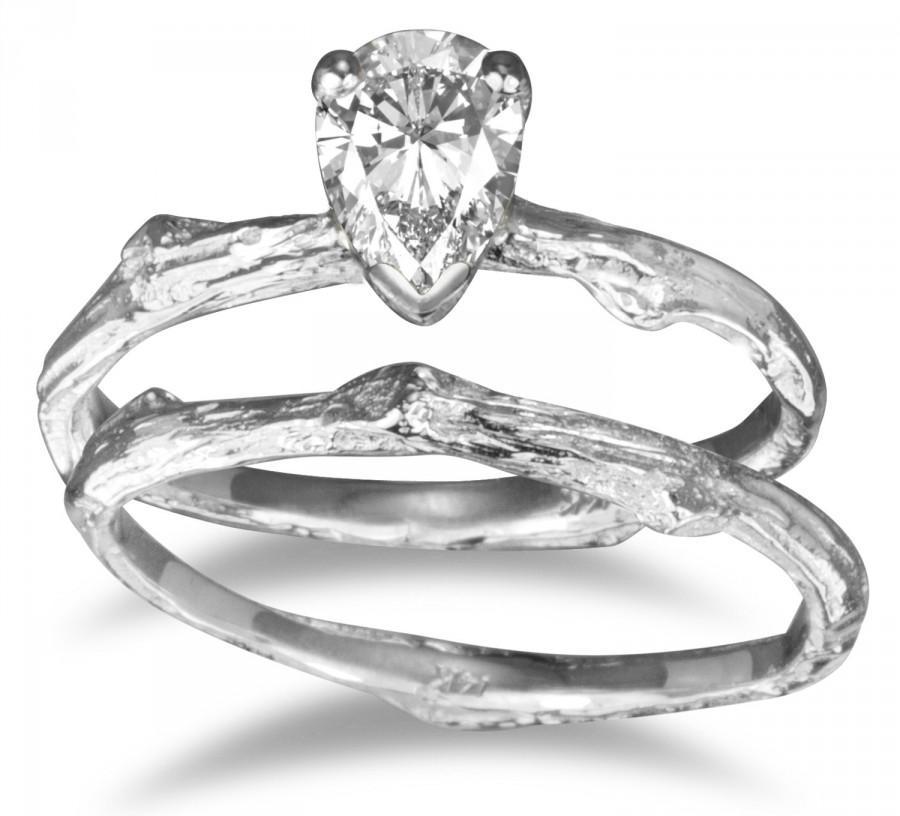 Twig Bridal Set Pear Shape White Sapphire Diamond Alternative
