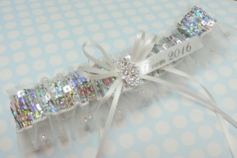 Свадьба - Rhinestone edge prom garter,  Silver prom garter,  White prom garter,  Prom garters