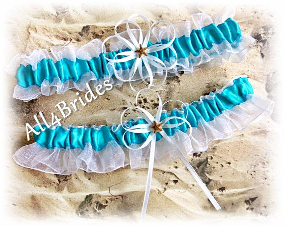 Hochzeit - Starfish Beach Weddings Bridal Garters, Turquoise and White, Something Blue,  Wedding Bridal Accessories
