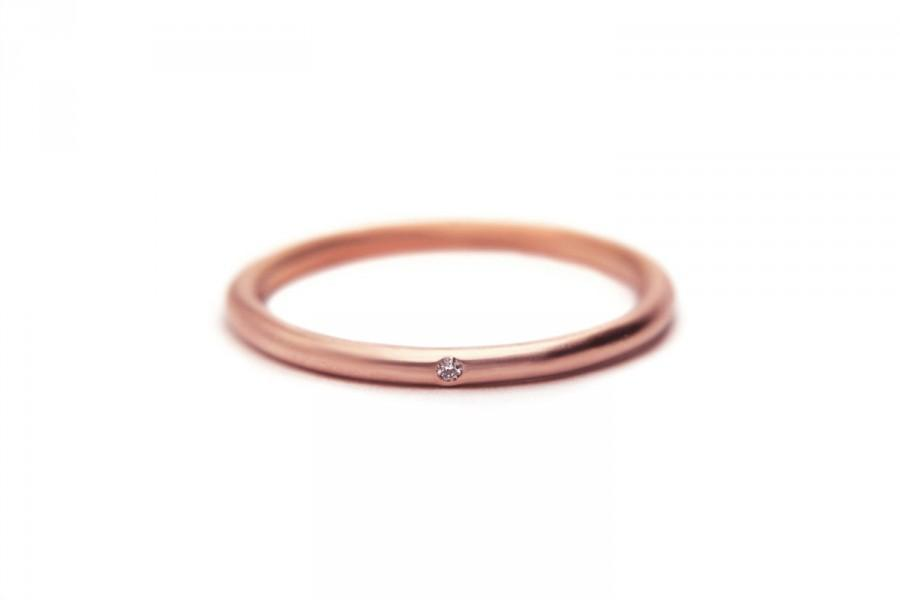 Rose Gold Diamond Ring Thin Delicate Stacking 14k Simple Engagement Or Wedding Band New Mom Present Last Minute Gift
