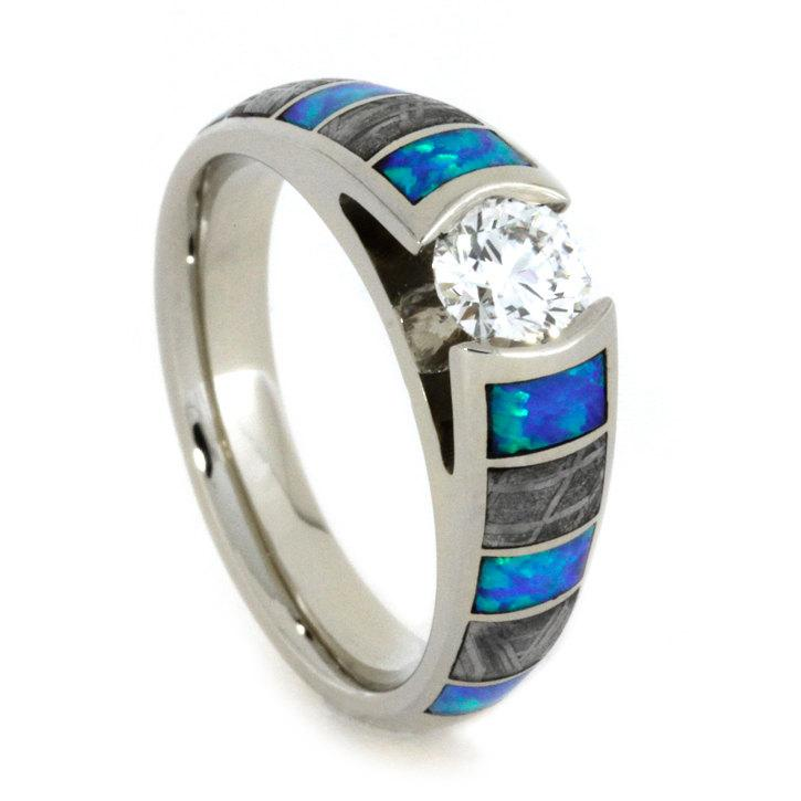 Wedding - White Gold Engagement Ring with Opal and Meteorite Inlays, Tension Set Diamond Ring in Cathedral Style
