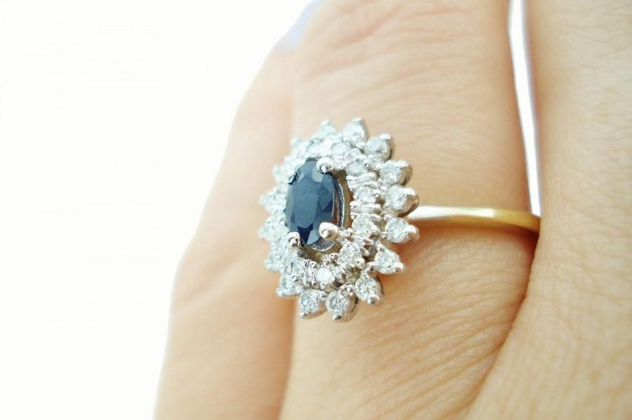 Hochzeit - Sapphire Ring, Sapphire Engagement Ring, Sapphire Diamond Wedding Band, Vintage Sapphire Ring, Fast Free Shipping