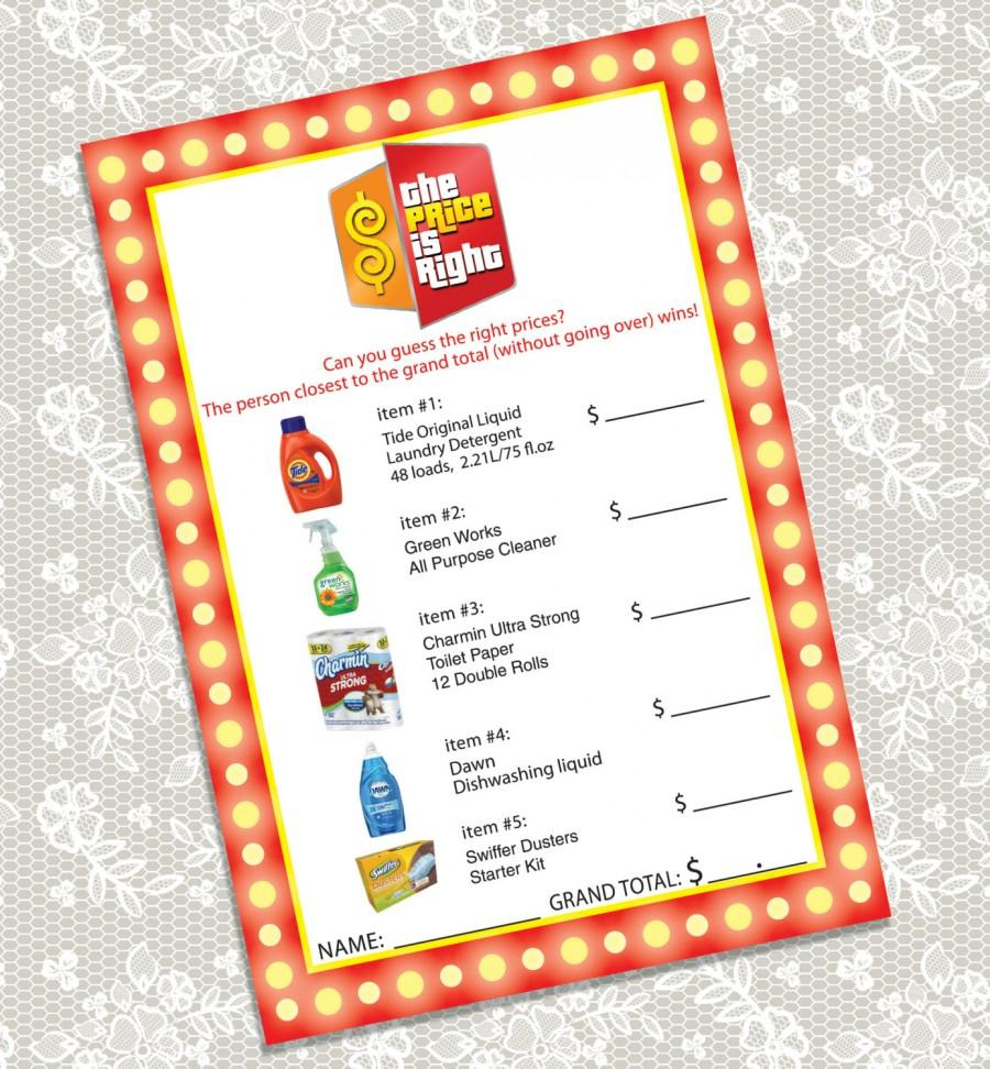 printable the price is right bridal shower game card instant download