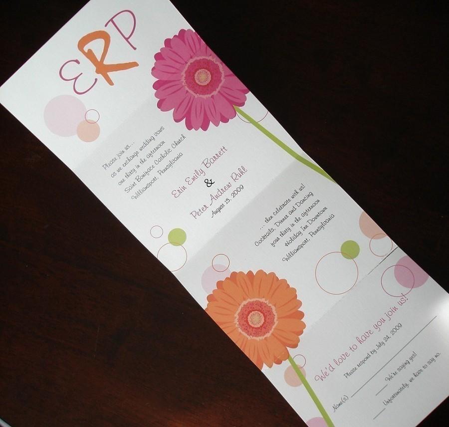 Folded Wedding Invitations: Pink, Orange, Gerber Daisy Wedding Invitation, Unique