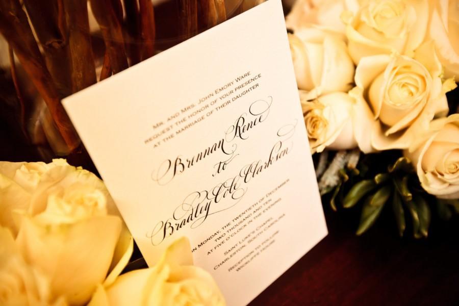 Свадьба - Traditional Calligraphy Wedding Invitation on Cotton Paper...Love No. 88...Ecofriendly