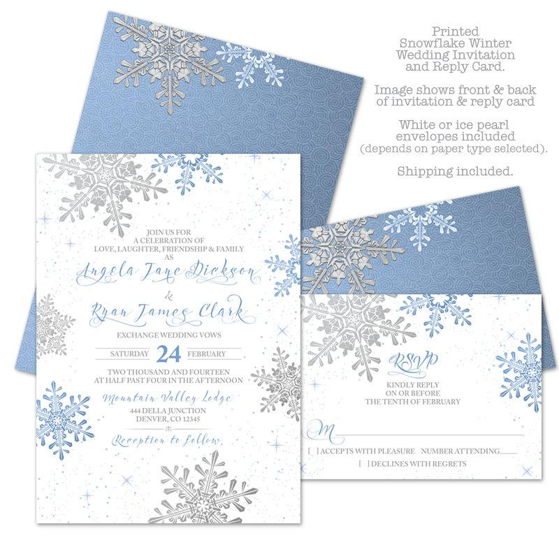 Lapis Blue Silver White Snowflake Winter Wedding Invitation And ...