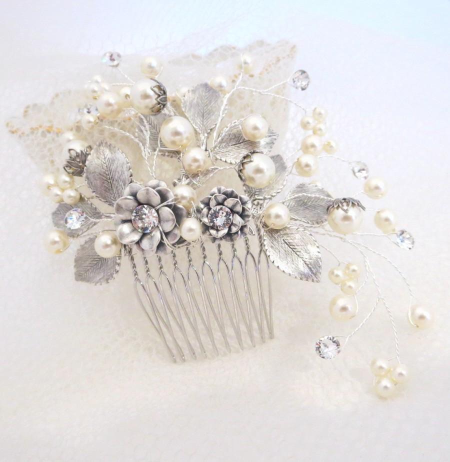 Mariage - Bridal hair comb, Wedding headpiece, Bridal hair vine, Antique silver hair clip, Swarovski crystal comb, Vintage style headpiece, Leaf comb