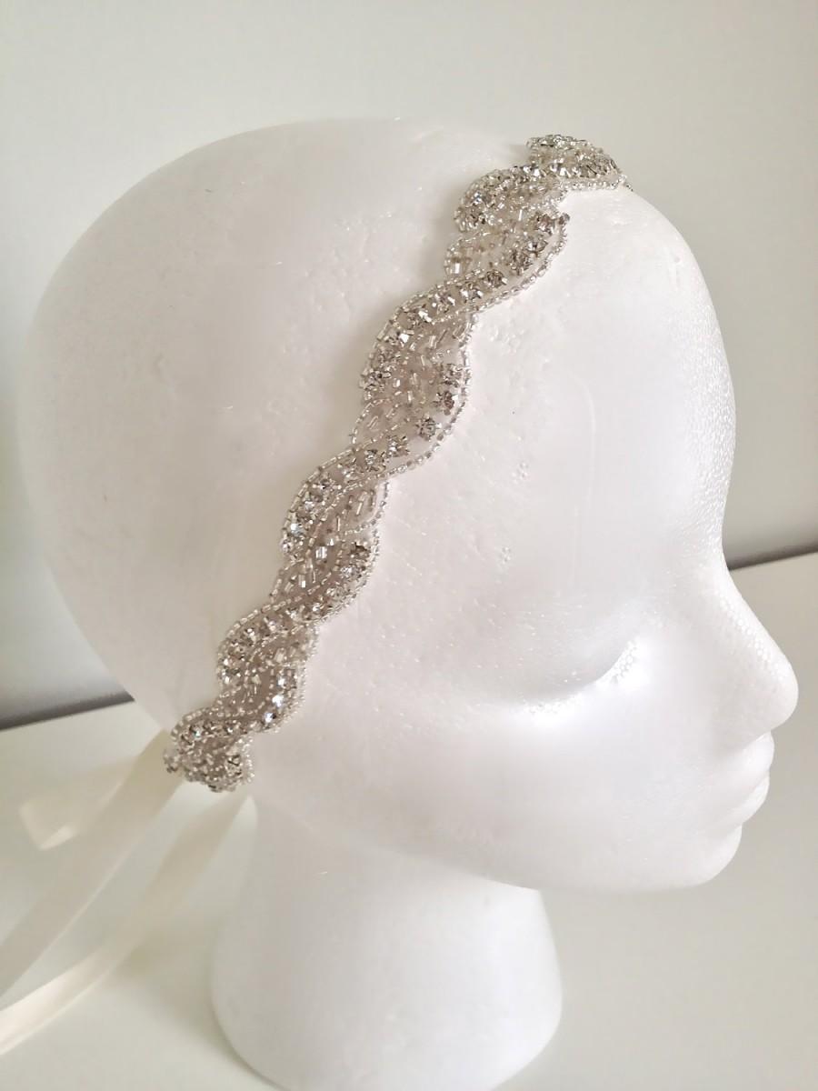 Mariage - Bridal headband, crystal ribbon headband, rhinestone headband, wedding headband, bridesmaid gift, flower girl headband - WAVERLY