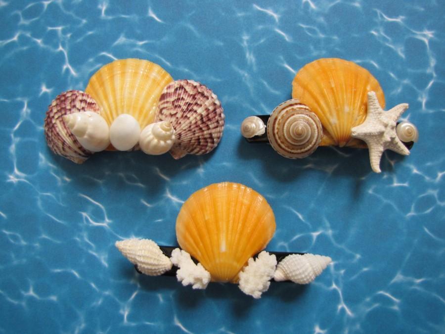 Seashell hair clips shell hair barrettes set of 3 3 for Seashells for hair